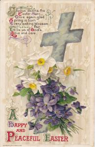 EASTER; Happy & Peaceful, Poem, Cross, Lillies and Violets, PU-1911