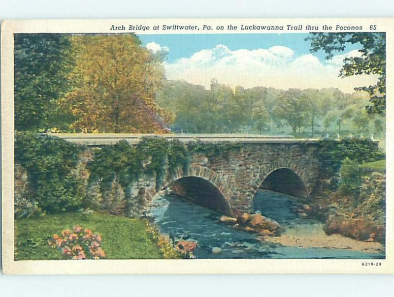 Linen BRIDGE SCENE Swiftwater - Near Stroudsburg & Mount Pocono PA H8182