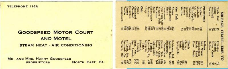 North East, Pennsylvania/PA,Goodspeed Motor Court/Motel Card