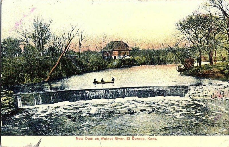 New Dam Walnut River El Dorado Kans. Kansas Vintage Postcard Standard View Card