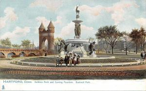 Hartford Connecticut~Kids Line Up by Corning Fountain~Soldiers Arch~1905 TUCK