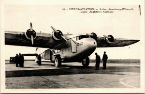 ISTRES AVIATION AVION ARMSTRONG WITWORTH LIGNE ANGLETERRE AUSTRALIA OLD POSTCARD