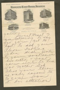 Roberts-Karp Hotel System Minnesota 1920's Stationary Used PLEASE READ NOTE