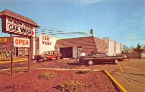 North Babylon Long Island NY The Rain Tunnel  Car Wash Old Cars Postcard.