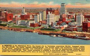 Tennessee Memphis Aerial View With Waterfront Curteich