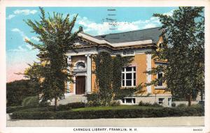 Carnegie Library, Franklin, N.H., Early Postcard, Used in 1944