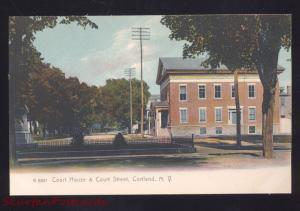 CORTLAND NEW YORK DOWNTOWN COURT HOUSE STREET SCENE VINTAGE POSTCARD NY