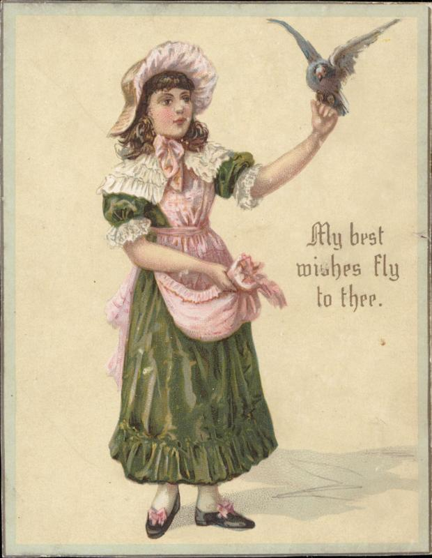 collectible greeting best wishes victorian girl bird  vintage old chromo litho