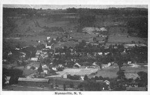 Munnsville New York~Aerial View Overlooking Town~1920s B&W Postcard