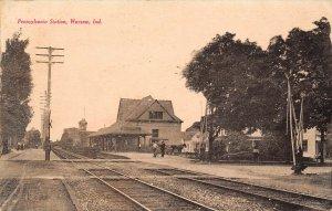 LP80 Warsaw Indiana Postcard Pennsylvania Station Depot