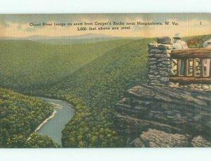 Linen RIVER SCENE Morgantown West Virginia WV AE6214