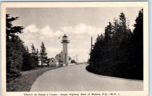 West of MATANE, QUEBEC Canada  CHEMIN de GASPE a l' ouest LIGHTHOUSE? Postcard