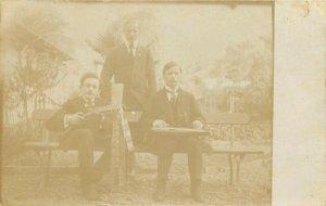 Music social history 1910s photo postcard mandolin music instruments Switzerland