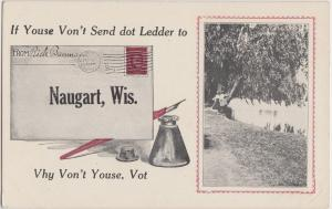 1915 NAUGART Wisconsin WI Postcard Letter Ink Pen Greetings