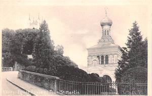 Switzerland Old Vintage Antique Post Card Vevey Eglise Russe et Tour St Marti...