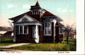 Free Public Library, Somers Connecticut Vintage Postcard N12