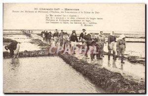 Old Postcard Marennes Back fishermen and fisherwomen d & # 39huitres concessi...