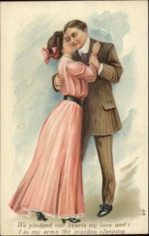 Embossed Romance Lovers Kiss Woman in Pink Dress #617 c1910 Postcard