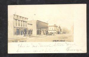 RPPC ATHENS MICHIGAN DOWNTOWN STREET SCENE STORES REAL PHOTO POSTCARD 1906