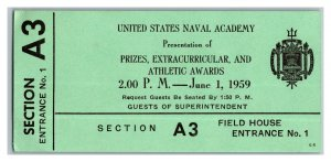 U.S. Naval Academy Ticket June 1 1959 Prizes Extracurricular Athletic Awards