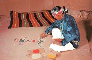 Vintage Postcard Navajo Sand Painter Artistic Paintings Tribal Medicine