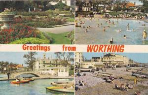 Four Views, People Bathing, Boats, Relaxing Scene, Garden, Worthing (Sussex),...