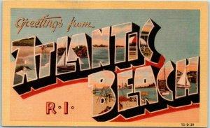 ATLANTIC BEACH, Rhode Island Large Letter Postcard DEXTER Linen #13-D-29 Unused