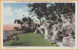 Miami, FLA., Scene on a Waterfront Estate, showing coral reef formation-