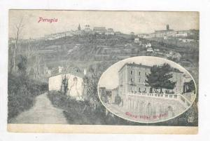 2 Views, Bird's Eye View Of Perugia, & Grand Hotel Brufani, Perugia (Umbria),...