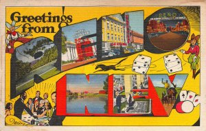 Greetings From Reno, Nevada, Early Linen Postcard, Unused