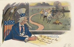Uncle Sam watches kids shoot cannon , 1907