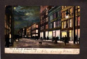 CT View Main St Street Bridgeport Night Moonlight Conn Connecticul Postcard 1907