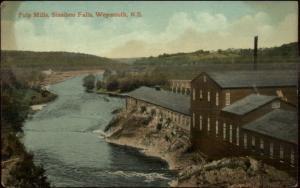Weymouth Nova Scotia Pulp Mills Sissiboo Falls c1910 Postcard