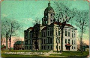 Eureka, Illinois Postcard Woodford County Court House & Jail - 1911 Cancel