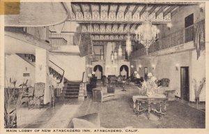 ATASCADERO, California, 1900-1910's; Main Lobby Of New Atascadero Inn