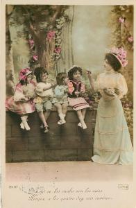 Victorian Lady~4 Children on Wall~Reach For Treat~Colorized Real Photo~RPPC~1908