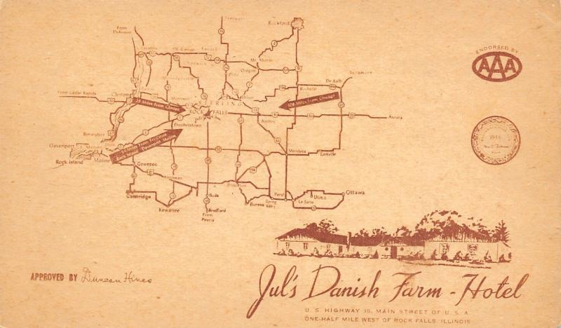 Rock Falls Illinois Jul S Danish Farm Hotel Lincoln Highway Map