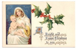 Christmas Madonna Holy Mother and Child Raphael Tuck Vintage Lithograph Postcard