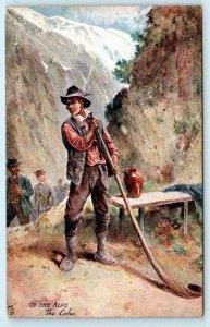 Tuck Oilette INN THE ALPS Hiker Alpenhorn THE ECHO ca 1910s  Postcard