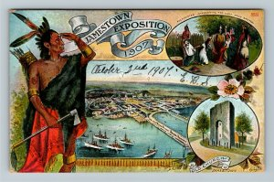 Jamestown Exposition 1907 -  Indian Lookout Over The Grounds Vintage Postcard