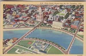 Ohio Columbus Aerial View Of Civic Center Group Curteich