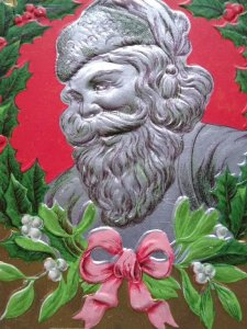 Vintage Santa Claus Christmas Postcard P Sander Silver Faced Saint Nick Embossed