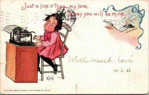 Artist Signed Vintage Postcard Curtis , Raphael Tuck 1903 child typewriter