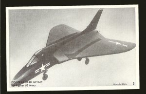 US Navy Douglas XF4D Skyray Jet Fighter Black & White Vintage Postcard Unposted