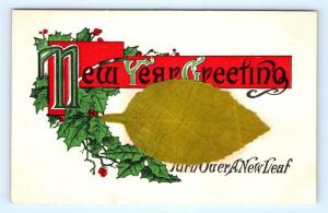 Postcard Happy New Year Turn Over A New Leaf Lift Up Keep Resolution J15