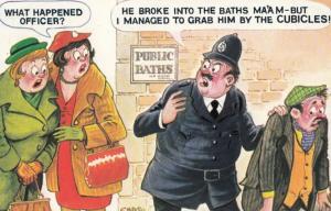 Policeman Arrests Drunk Tramp In Public Toilets Baths Comic Humour Postcard