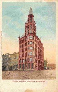 Review Newspaper Building Spokane Washington 1907c postcard