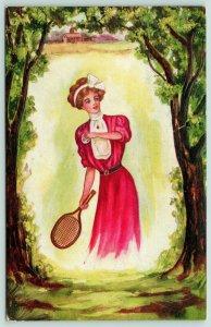 Winsch Lady~Redhead w/ White Hair Ribbon Plays Tennis~Woodland Portal~A-527
