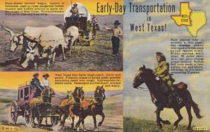 Texas Covered Wagon Stage Coach & Pony Express Rider Early Day Transportation...