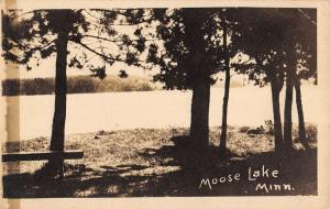 Moose Lake Minnesota Scenic Waterfront Real Photo Antique Postcard K99586
